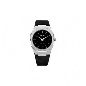 Milan D1 Uhr, Ultra Thin Line, achteckiges Silberveloursleder