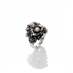 Woman ring Wild rose G.Raspini , silver and pink opal - 10101