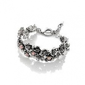 Wild rose G.Raspini bracelet in silver and large rose opal
