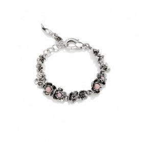 Wild rose G.Raspini bracelet in silver and medium pink opal