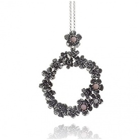 "G.Raspini ""Wild rose"", pendant necklace, in silver and pink opal"