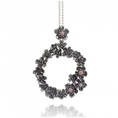 """G.Raspini """"Wild rose"""", pendant necklace, in silver and pink opal"""