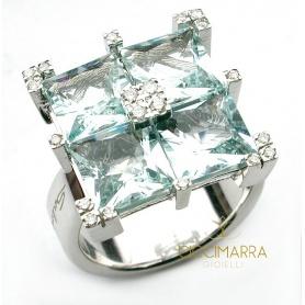Salvini Quarter ring with aquamarine and diamonds