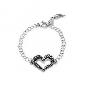 G.Raspini Swing Armband mit Herz und Ringen, Silberkette - 9549