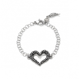 G.Raspini Swing bracelet with heart and rings, silver chain  - 9549