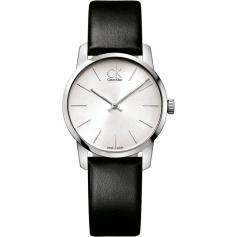 Calvin Klein City watch black leather bracelet silver dial