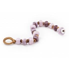 Bracciale Moi ROSETTA2 con perle in vetro rosa lilla