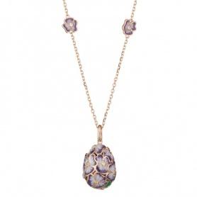 Halskette mit T.Fabergè Tamara Silber-Ei und rosa Emaille