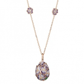 Necklace with T.Fabergè Tamara silver egg and pink enamel
