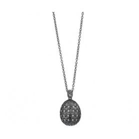 Tatiana Fabergè Halskette in poliertem Silber, weißen Zirkonen und schwarzem Emaille