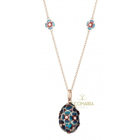 Tatiana Fabergè necklace in silver rosé and blue enamel - TAP03R-DB