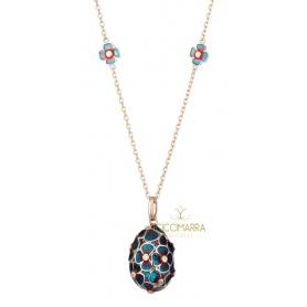 Tatiana Fabergè necklace in silver rosé and blue enamel - TAP03R-DB