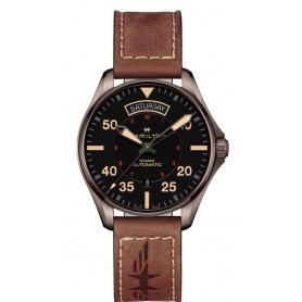Orologio Khaki Pilot Day Date nero H64605531