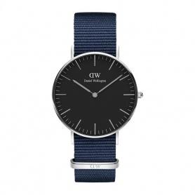 Daniel Wellington Bayswater 36mm silberne schwarze Uhr