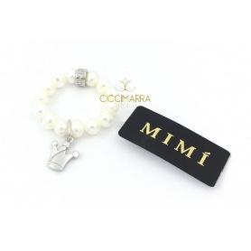 Elastischer Mimì Ring mit weißen Perlen und Corona Anhänger
