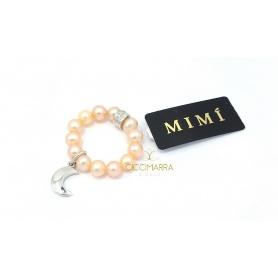 Elastischer Mimì Ring mit cremefarbenen Perlen und Luna Anhänger