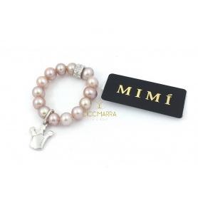 Anello Mimì elastica con perle lilla e pendente Corona