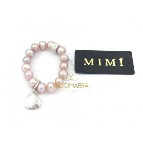 Elastischer Mimì Ring mit lila Perlen und Herz Anhänger