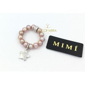 Elastischer Mimì Ring mit lila Perlen und Stella Anhänger