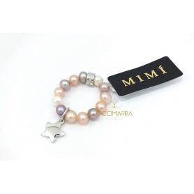 Anello Mimì elastica con perle multicolor e Stella