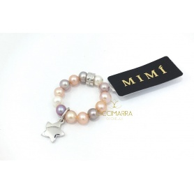 Elastischer Mimì Ring mit Multicolor Perlen und Stella