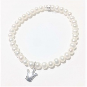 Bracciale Mimì elastica con perle bianche e Corona