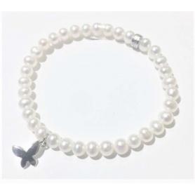 Elastisches Mimì Armband mit weißen Perlen und Schmetterling