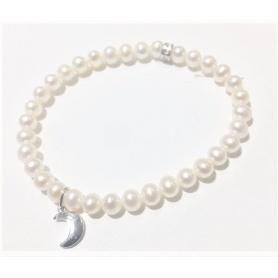 Bracciale Mimì elastica con perle bianche e Luna