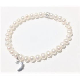 Elastic Mimì bracelet with white pearls and Luna