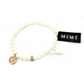 Bracciale Mimì elastica con perle bianche e pendente in oro