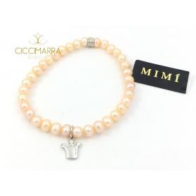 Bracciale Mimì elastica con perle crema e Corona