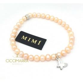 Bracciale Mimì elastica con perle crema e Farfalla