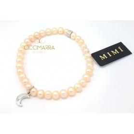 Bracciale Mimì elastica con perle crema e Luna