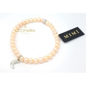 Elastic Mimì bracelet with cream pearls and Luna