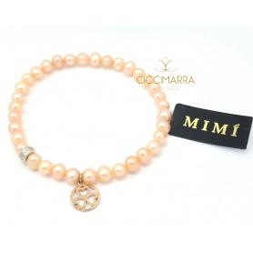 Bracciale Mimì elastica con perle crema e pendente in oro