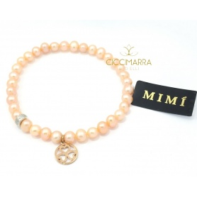 Elastic Mimì bracelet with cream pearls and gold pendant