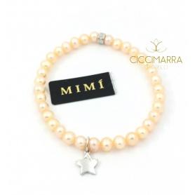 Bracciale Mimì elastica con perle crema e Stella