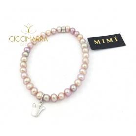 Bracciale Mimì elastica con perle lilla e Corona