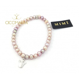 Elastic Mimì bracelet with lilac pearls and Crown