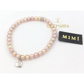 Bracciale Mimì elastica con perle lilla e Cuore