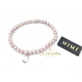 Bracciale Mimì elastica con perle lilla e Luna
