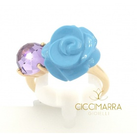 Mimì Grace ring with turquoise rose and amethyst