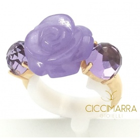 Mimì Grace ring in gold, lavender jade and amethysts