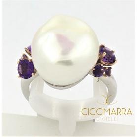 Mimì Ring in Silber, Roségold, Barocke Perle und Amethyst