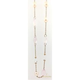 Collana lunga Mimì in oro rosa con perle e quarzo rosa
