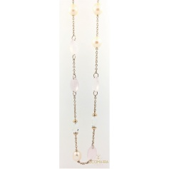 Mimì long necklace in pink gold with pearls and rose quartz