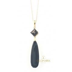 Mimi Shan Teki necklace in gold with Onyx and Smoky Quartz