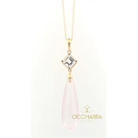 Mimi Shan Teki gold necklace , rose quartz and white sapphire