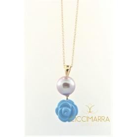 Collana Mimì Grace con perla lilla e rosellina turchese