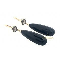 Mimi Shan Teki gold earrings with Onyx and Smoky Quartz